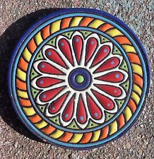 """1~Talavera Mexican 4"""" tile pottery hi relief Coaster round Bright red yellow Blu"""