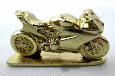 "Monopoly Street Motorcycle Replacement Game Piece Miniature Gold-tone 1-1/8""long"