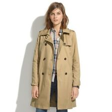Orig $188 MADEWELL Belted Trench Womans XL 100% Cotton Jacket Coat Camel Tan