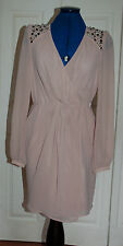 New Sz 10 Spotlight Warehouse Jewel & Bead Shoulder/back Chiffon Nude Wrap Dress