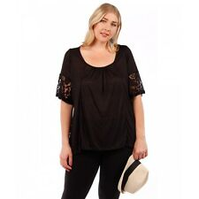 Womens Black Yummy Plus Size 5X Top with Lace Trimmed Sleeves and Back