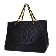Auth CHANEL CC GST Quilted Chain hand Bag Leather Black France Vintage 27A563