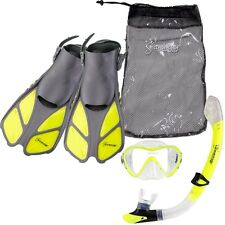 Seavenger Diving Set (Neon Yellow)S/M Adult Size Trek Fin Single Lens Mask Bag
