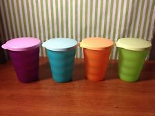 Tupperware Impressions Tumbler Set of Four Colors New 11oz No Staw Hole