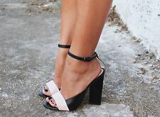 Zara Leather Geometric High Heel Sandals size uk 4 EU 37
