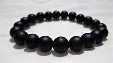 "Matte Black Onyx bead bracelet for MEN (On Stretch) AAA Quality 10mm - 8"" inch"