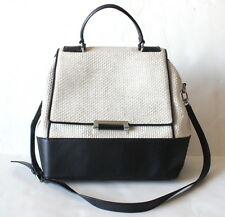 Diane von Furstenberg Beige Raffia and Black Leather 440 Tote $495