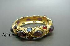 Vintage 60s KJL Kenneth Jay Lane jewelled purple cabochon cuff bracelet