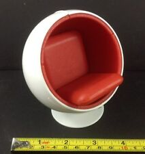 Dollhouse Miniature Furniture Modern Design Cozy Whit Red Ball Lounge Chair 1:12
