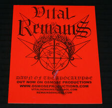 "VITAL REMAINS ""DAWN ON OF THE APOCALYPSE"" 2000 UNUSED RARE OSMOSE PROD PROMOSTIC"
