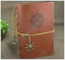 7*5 Handmade Vintage Retro Leather Notebook Travel Journal Diary Nautical Brown