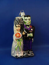 Frankenstein & Bride Old World Halloween Glass Christmas Ornaments NWT 26065
