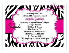 20 Personalized Zebra Hot Pink Bridal Shower Lingerie Wedding Invitations
