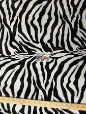 VELBOA FAUX FAKE FUR ZEBRA ANIMAL SHORT PILE FABRIC - White/Black Thin Stripe -