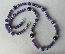 Handmade Amethyst and crystal beaded necklace  N684
