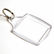 50 BLANK CLEAR PASSPORT SIZE KEYRINGS 45mm x 35mm 45 35