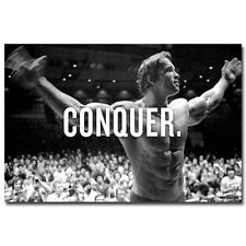 CONQUER - ARNOLD SCHWARZENEGGER Bodybuilding Fitness Motivational Poster 24x36""