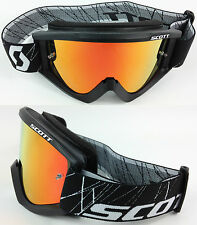 SCOTT RECOIL XI MOTOCROSS MX GOGGLES BLACK with GOGGLE-SHOP RED MIRROR LENS