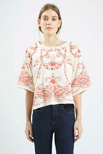TOPSHOP,Red Embroidered Cutwork Festival Top ,UK Size 12 , RRP- £34 ( LAST ONE )