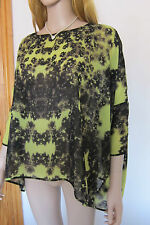 TED BAKER New! ~Floral~ Top UK 10 12 1 Holiday ~ Beach LIME Black Chiffon Kaftan