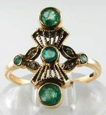 LONG FINGER  VICTORIAN INSP 9CT GOLD EMERALD & DIAMOND RING