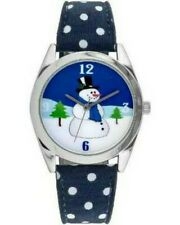 Women's Snowman Watch, Blue/White/Silver