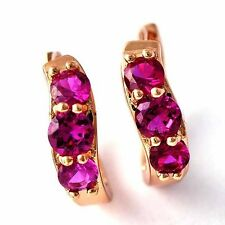 Vintage rose Gold Plated red ruby womens Childrens Jewelry huggie hoop earrings