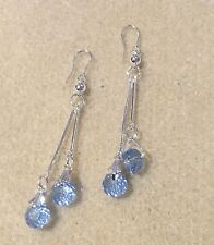 One Pair Powder Blue Glass Crystal Double Round Ball Drop Hook Earrings