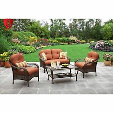 4 Pc Furniture Garden Set Patio Deck Outdoor Rattan Wicker Chair Sofa Sectional