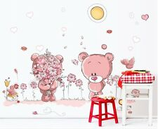 Pink Teddy Bear Vinyl Wall Decals Sticker Mural Paper Nursery Home Art Decor