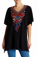 NWT $155 JOHNNY WAS JWLA EERAN EMBROIDERED PONCHO TUNIC TOP BLACK XL XXL 1X