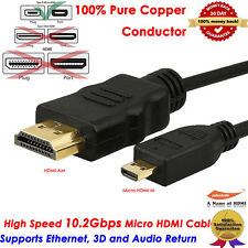 Gold High Speed Micro HDMI to HDMI cable with Ethernet (6 Feet),100% Pure Copper