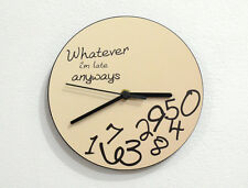 Whatever, I'm late anyways ( Beige ) - Wall Clock
