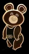 Olympic Pin Badge~Moscow~1980~Russian~Misha~Bear~gold tone outline~black suit