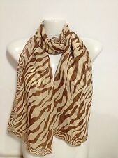 LIGHT WEIGHT BEAUTIFUL ZEBRA DESIGN SCARF COLOR LIGHT BROWN