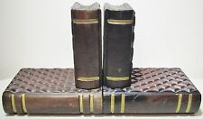 Two Wood Wooden Handmade Carved Decorative Collectible Book Shaped Bookends Set