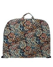 Brown Floral Paisley Cotton Quilted Light Garment Luggage Overnight Travel Bag