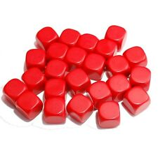 24 Blank Red Dice, (plastic cubes), 16mm , D6
