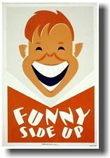 Funny Side Up - NEW Vintage Art Print Reading School POSTER