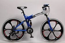 New Folding Mountain Bike Shimano Bicycle Full Suspension Sports MTB-Azure Blue