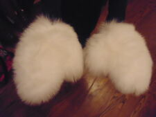 New Real White Fox Fur Gloves Mittens Soft and Furry With Hanging String