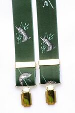Pike and Fishing Rod Green and Gold Trouser Braces Fishing Gift Boxed
