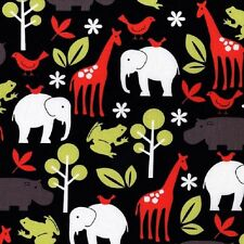 Fat Quarter Zoology Black Animals Cotton Quilting Fabric- Michael Miller