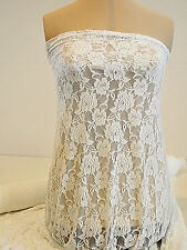 STRETCH LACE FABRIC  WHITE   4 WAY BRIDAL, FORMAL, PAGEANT, LEGGINGS BTY
