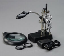 Helping Hand Soldering Stand With Magnifier Magnifying Glass 3 Lens 5 LED Light