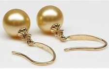 12mm charm southsea yellow shell pearl earring gold plated on 925 silver
