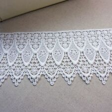 """Vintage ST Scalloped Embroidery Crochet Lace Trim Off White 3.9""""(10cm) Wide 1Yd"""