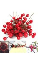100x Fake Holly Red berries christmas wreath cardmaking Craft joblot Fruits Stem