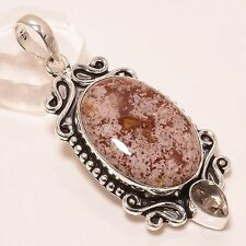 """ANTIQUE LOOK CRAZY LACE AGATE WITH SMOKY  .925 SILVER JEWELRY PENDANT 2.2"""""""