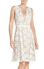 ADRIANNA PAPELL ILLUSIONS FLORAL LACE FIT & FLARE IVORY/NUDE DRESS sz 12